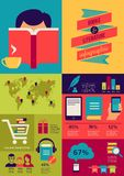 Infographics de los libros de lectura, sistema de iconos planos ilustración del vector
