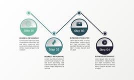 Infographics de los pasos - puede ilustrar un trabajo de la estrategia, del flujo de trabajo o del equipo Foto de archivo