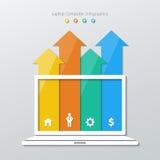 Infographics de papel del ordenador Foto de archivo libre de regalías