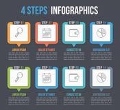 Infographics de quatro etapas ilustração stock