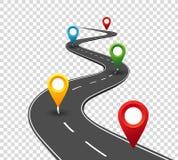Infographics de route Route d'enroulement au succès avec des indicateurs de goupille Manière de voyage d'affaires Concept de prog illustration stock