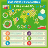 Infographics de serviço público com mapa do mundo Fotografia de Stock