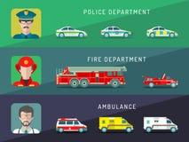 Infographics de service de ville de vecteur dans le style plat Transport municipal urbain avec différentes icônes d'hommes de pro Image libre de droits
