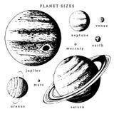 Infographics de système solaire dans le vecteur Illustration tirée par la main de comparaison de planètes dans la taille illustration de vecteur
