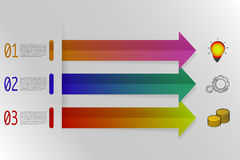 Infographics de tres pasos con las flechas coloridas en estilo de la papiroflexia Foto de archivo libre de regalías