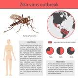 Infographics de virus de Zika avec la transmission, le symptôme, la prévention et le traitement vecteur inforgaphic illustration stock
