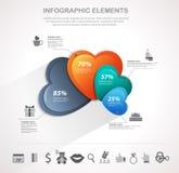 Infographics dei cuori di giorno di biglietti di S. Valentino Immagine Stock