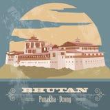 Infographics del Bhutan, dati statistici, viste Punakha - Dzong Fotografia Stock