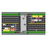 Infographics del camino Camino del diagrama, carretera, calle travesía Con diversos coches Imagen de archivo