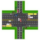 Infographics del camino La mayor parte de la intersección de la carretera con el camino Imágenes de archivo libres de regalías