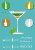 Infographics del coctel de Martini Imágenes de archivo libres de regalías
