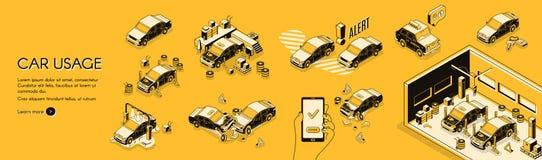 Infographics del coste del uso del coche y del vector de los riesgos ilustración del vector