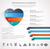 Infographics del cuore di giorno di biglietti di S. Valentino Fotografie Stock Libere da Diritti