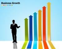 Infographics del diagramma di freccia con crescita di affari illustrazione vettoriale