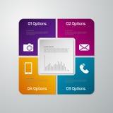 Infographics del ejemplo del vector cuatro opciones Ingenio cuadrado de papel Stock de ilustración