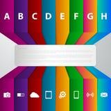 Infographics del ejemplo del vector ocho tiras coloreadas ilustración del vector