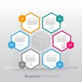 Infographics del ejemplo del vector seis opciones stock de ilustración