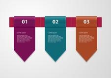 Infographics del ejemplo del vector tres cintas stock de ilustración