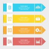 Infographics del negocio con la flecha Plantilla con 4 elementos, pasos, opciones stock de ilustración