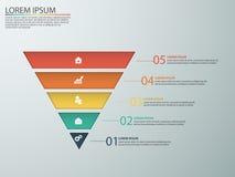 Infographics del negocio con las etapas de un embudo de las ventas Foto de archivo