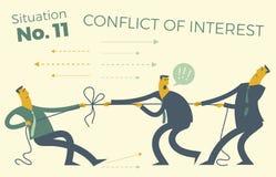 Infographics del negocio con los ejemplos de las situaciones de negocio La gente tira de la cuerda, difficultie de resolución del Imagenes de archivo