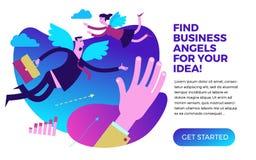 Infographics del negocio, situaciones de negocio Ángel del negocio Ángeles del hombre y de la mujer con las alas que vuelan al re ilustración del vector
