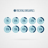 Infographics del porcentaje del vector 5 10 15 20 25 30 35 40 45 gráficos circulares del 50 por ciento Diagramas del círculo Ilus Imagenes de archivo