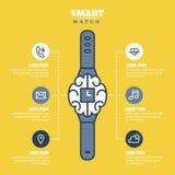Infographics del reloj o plantilla elegante de las presentaciones con el esquema Foto de archivo