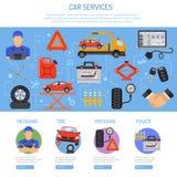 Infographics del servicio del coche Imagenes de archivo