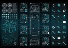 Infographics del transporte y del transporte de carga Plantilla del infographics del automóvil Inte gráfico virtual abstracto del Foto de archivo