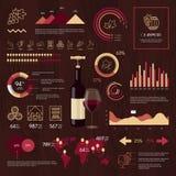 Infographics del vector del vino en fondo de madera Imagen de archivo