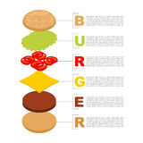 Infographics dell'hamburger Struttura del isometrics dell'hamburger Fotografia Stock Libera da Diritti