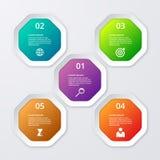 Infographics dell'illustrazione di vettore degli ottagoni Immagine Stock