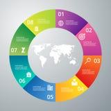 Infographics dell'illustrazione di vettore otto opzioni Immagine Stock