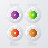 Infographics dell'illustrazione di vettore quattro cerchi Fotografia Stock Libera da Diritti