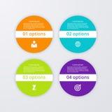 Infographics dell'illustrazione di vettore quattro cerchi Fotografia Stock