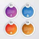 Infographics dell'illustrazione di vettore quattro cerchi illustrazione di stock