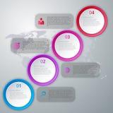 Infographics dell'illustrazione di vettore quattro cerchi Fotografie Stock Libere da Diritti