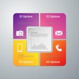 Infographics dell'illustrazione di vettore quattro opzioni Quadrato di carta con gli angoli arrotondati illustrazione vettoriale