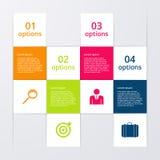 Infographics dell'illustrazione di vettore quattro quadrati di opzioni illustrazione vettoriale
