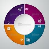 Infographics dell'illustrazione di vettore quattro rettangoli Templa moderno Fotografie Stock