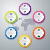 Infographics dell'illustrazione di vettore sei opzioni Immagine Stock Libera da Diritti