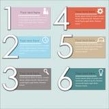 Infographics dell'illustrazione di vettore sei opzioni Fotografia Stock