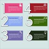 Infographics dell'illustrazione di vettore sei opzioni fotografie stock