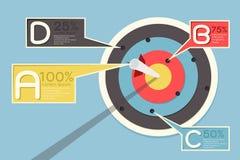 Infographics dell'obiettivo e della freccia Immagini Stock