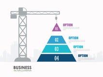 Infographics della costruzione di opzioni del grafico della piramide Immagine Stock