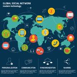 Infographics des Sozialen Netzes Lizenzfreie Stockfotografie
