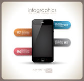 Infographics Desgin template with phone Stock Photo