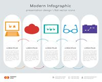 On infographics design. Infographics design  and On, Cloud computing, On, Eye glasses, Strategy icons can be used for workflow layout, diagram, annual report Royalty Free Stock Image