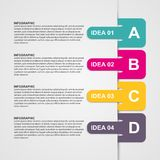 Infographics design with colored paper bookmarks. Vector illustration Stock Photos